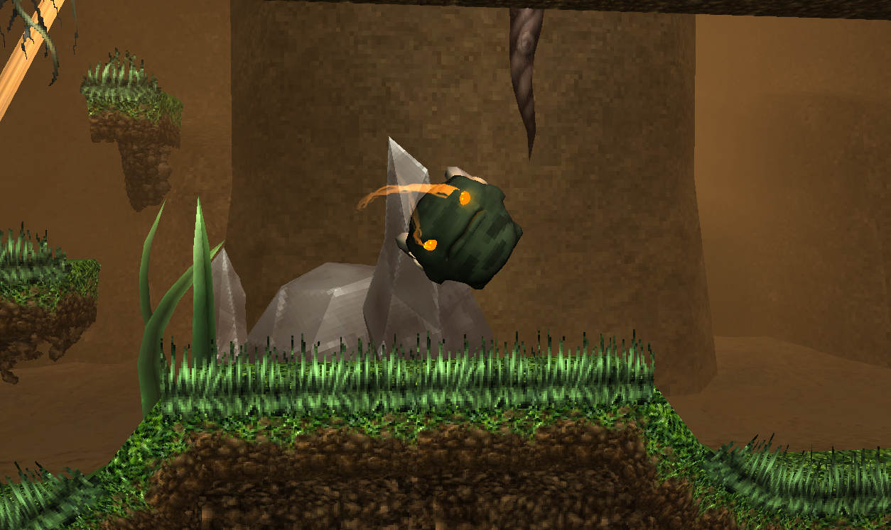 One of the early test levels with the character mr. horns, placeholder for the main character.