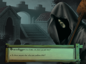 A conversation with the gravedigger who only could be found at the cemetary during the night.
