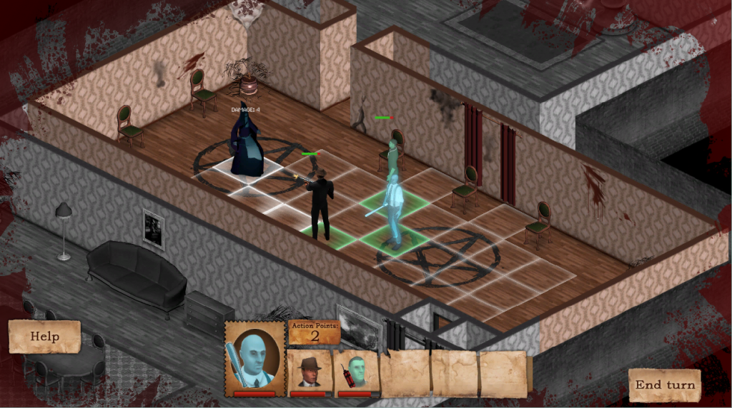 Last fight at the first level, the player meets a mini-boss cultist.