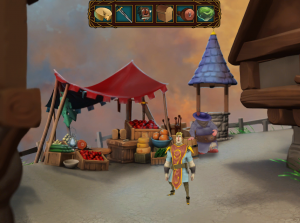 The marketplace where Ferdinand makes a sandwich and later obtains the sword.