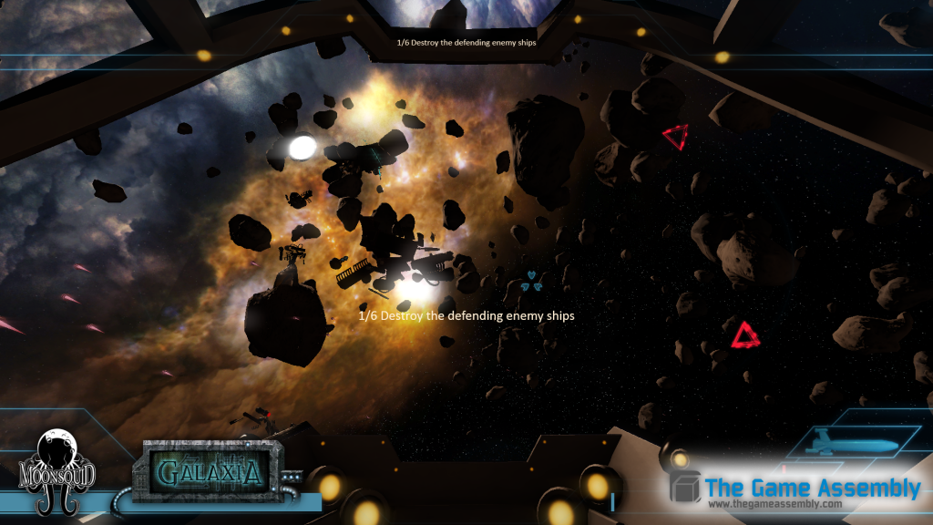 The player have to destroy the enemies defending the drilling platforms.