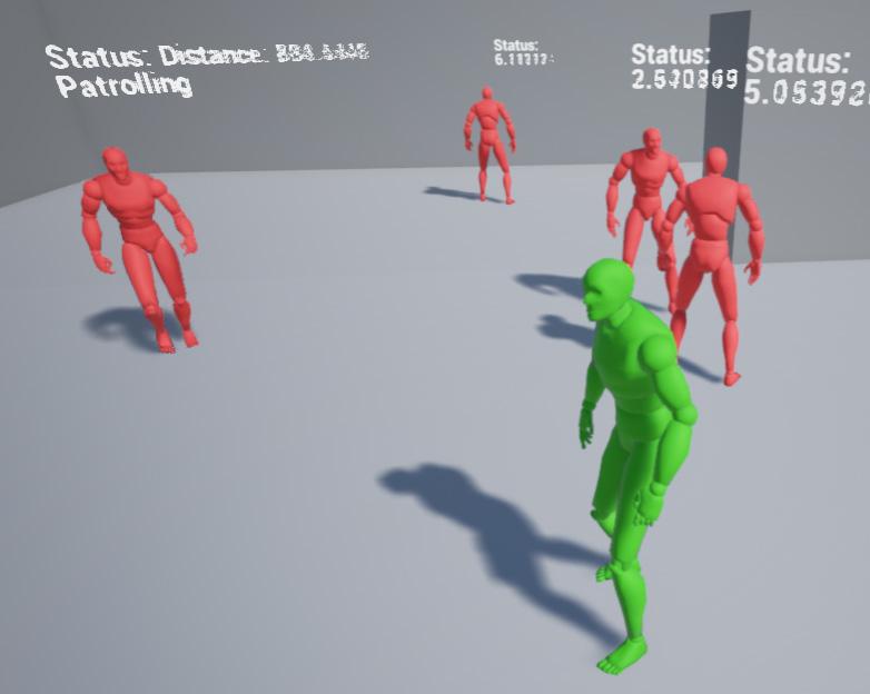 Patrolling AI that walks between target points.